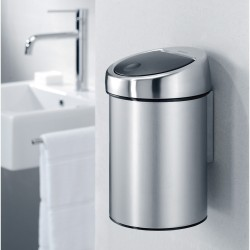 Brabantia Touch Bin 3 liter med vægbeslag - Matt Steel Fingerprint Proof